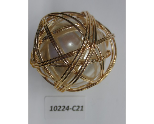 "Bead Big pearl w/wire around Dia1 1/2""Ivory/Gold"