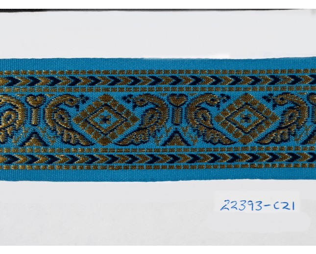 """1.5/8"""" Turquoise and Gold Sari"""