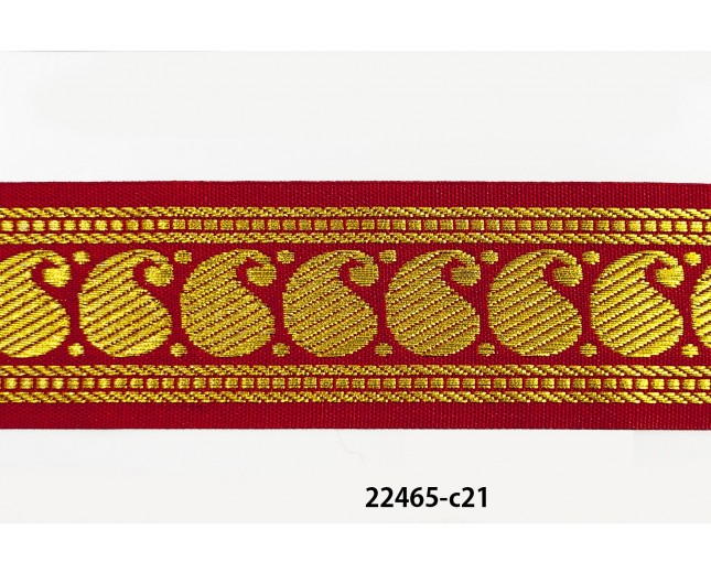 "1 1/2"" bright red and gold jacquard"