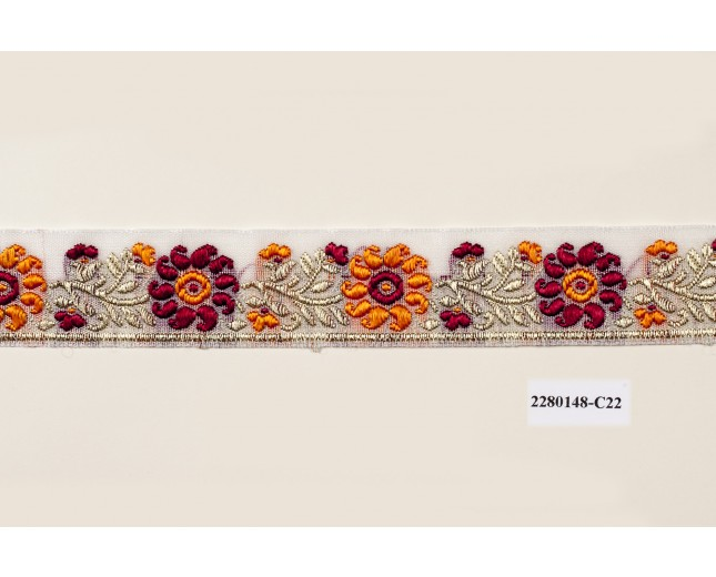 """Jacquard Polyester embroidered Floral Gold Lurex 1"""" Orange and Burgundy"""