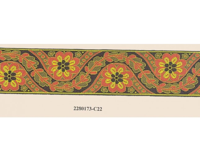 Jacquard Woven Floral 1 1/2""