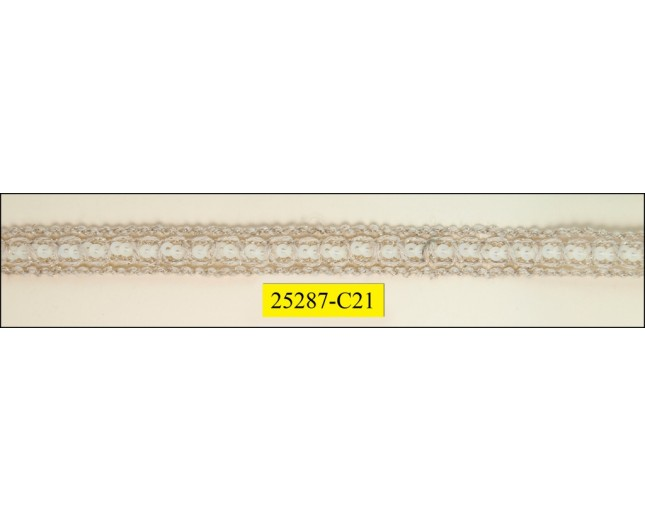 "Crochet 7/16"" Braid Natural Lurex with 1 row Sequin"