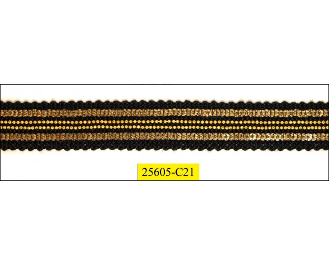 Braid Sequinned Gold with Chain Gold in center Black