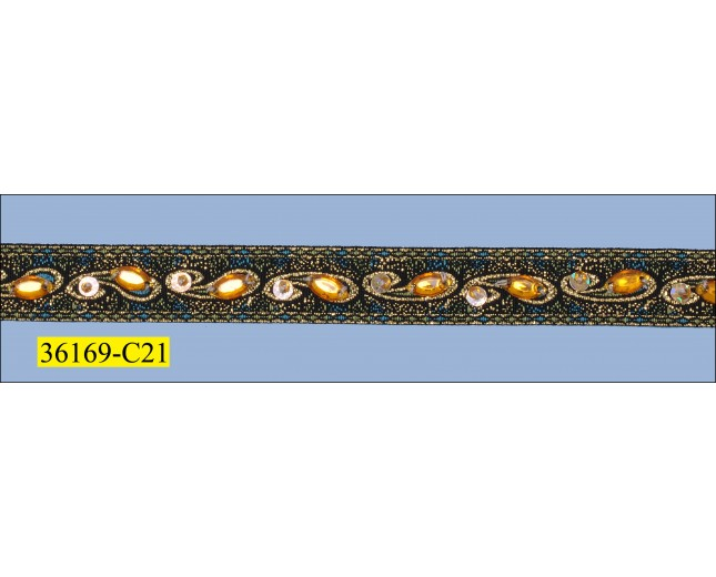 """Beaded, Sequins and Stone Jacquard with Gold Lurex 5/8"""" Gold"""