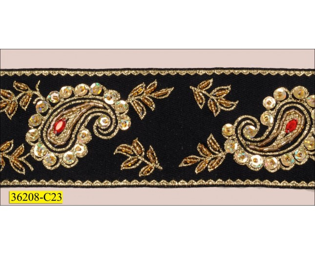 """Beaded and Sequins with Gold Embrodered on Green Woven 2 1/2"""""""