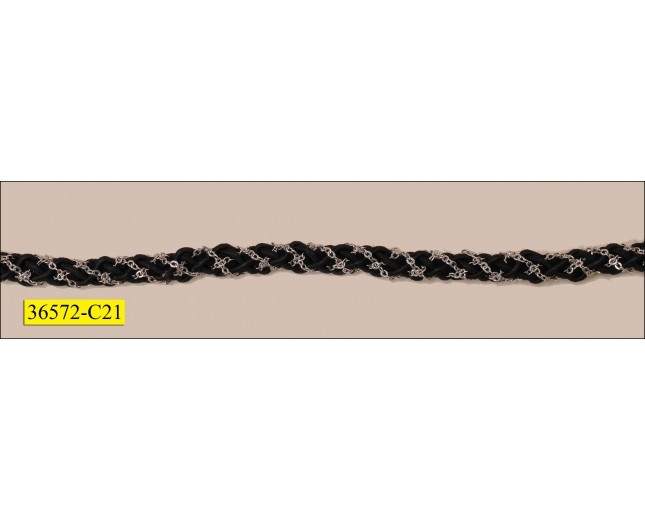 """Braided Cord and Chain 1/4"""" Silver and Black"""