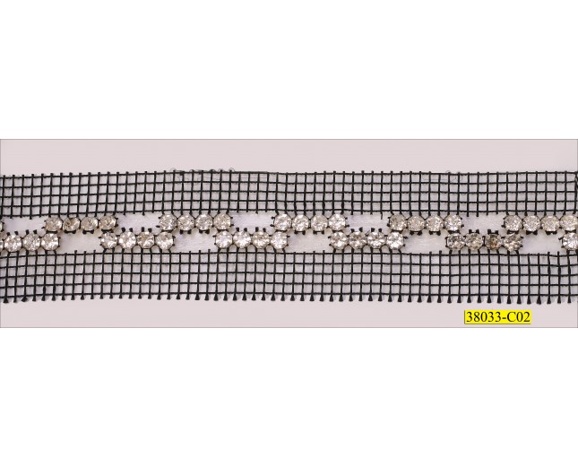 Zig zag Rhinestone with Black Net 2 sides 1 3/8''