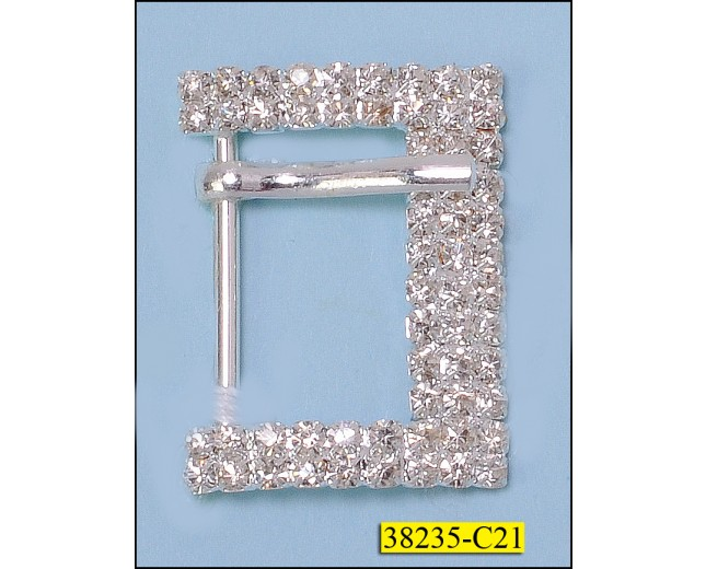 Rhinestone 3x2 Rows Rectangle Buckle with Prong Inner Diameter 20mm Silver
