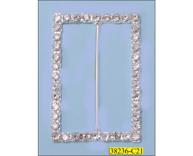 Rhinestone Rectangle Silder Buckle 60 x 41mm Silver