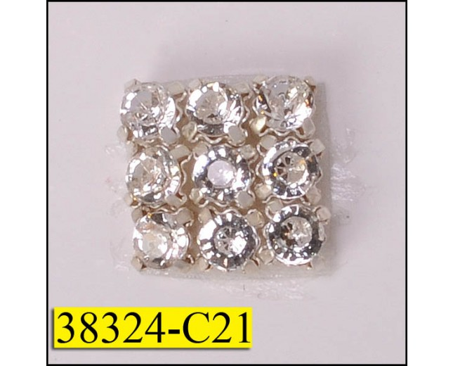 "Rhinestone Hot Fix Square 9 Stones 7/16"" Clear and Silver"