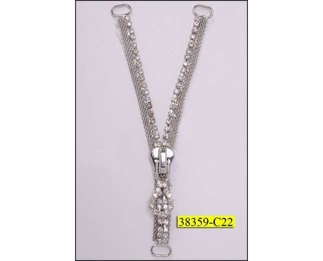 Rhinestone Zipper on Metal Mesh 4 3/4""