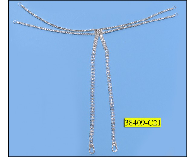 Rhinestone Attachment with Ball Chain Clear and Nickel