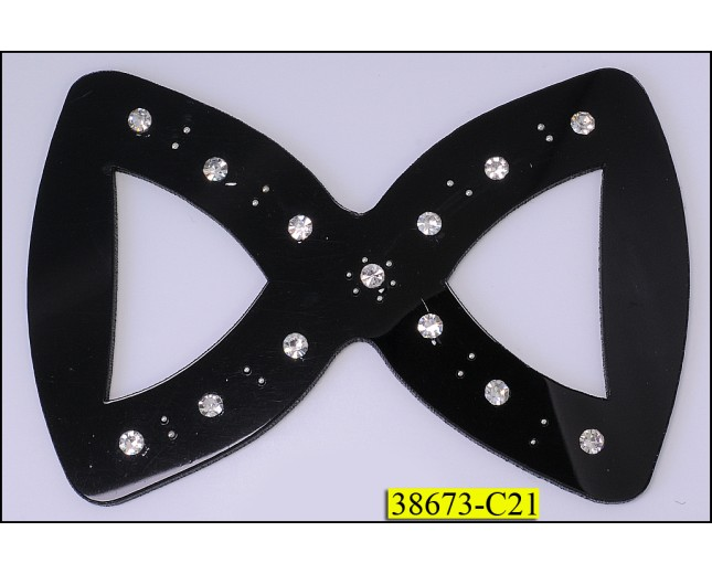 "Buckle ""8"" shape with Rhinestones 4X2 3/4"" Black and Clear"