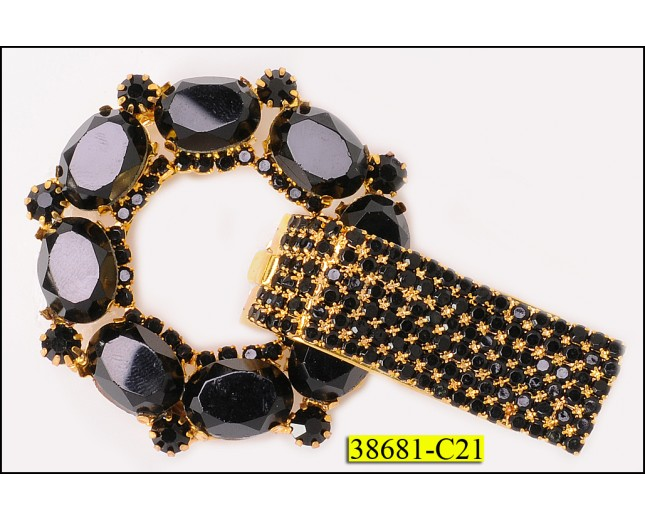 Button Male and Female with Black Rhinestone 3'' Black and Gold
