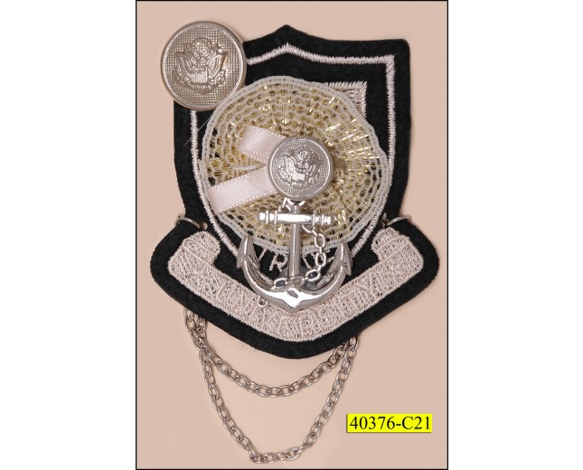 "Marine Brooch with Silver Lurex and Chain 2 1/8"" Black and Ivory"