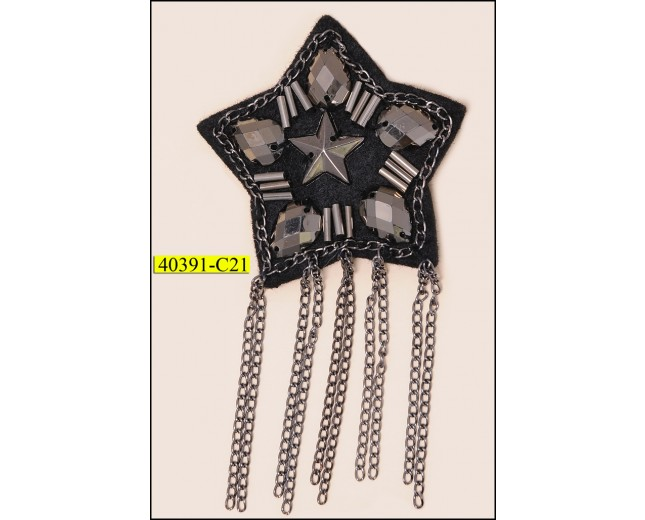 "Brooch Star with Hanging Chain 2 1/4"" Black and Gunmetal"