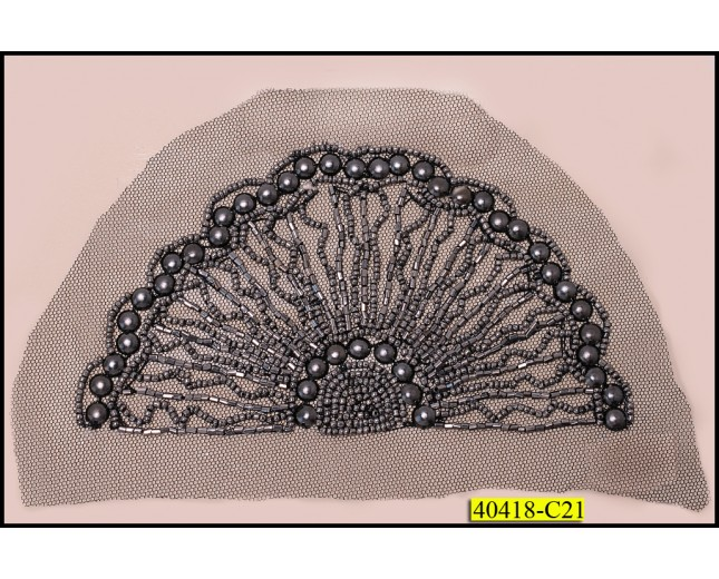 "Beaded Applique Scallop on Mesh 6 1/4""x3 1/2"" Black and Gunmetal"