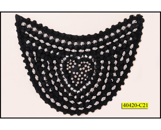 """Beaded Applique with Rhinestone 6 1/4""""x4"""" Black and Silver"""