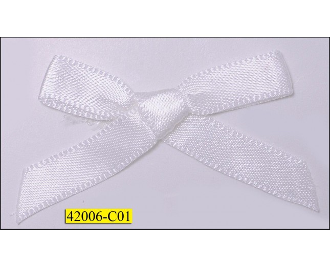 "1/4"" White ribbon Bow  with 1 1/2"" span"