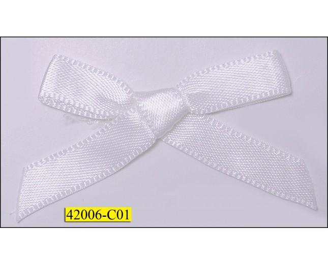 "1/4"" White ribbon Bow  with 1 1/2"" span"