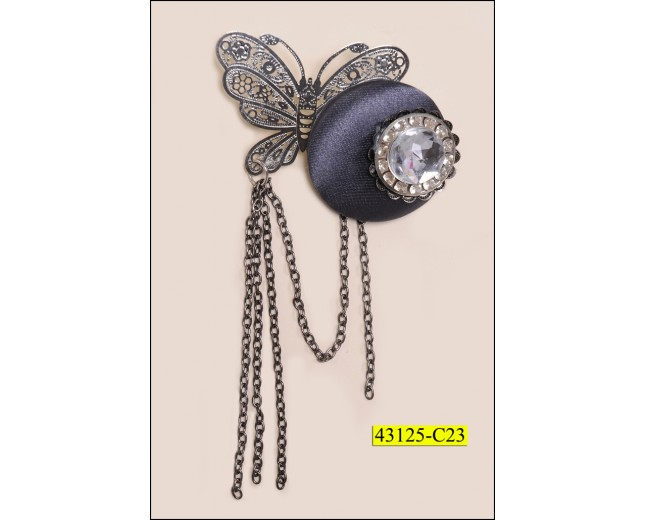Brooch Round with Stone and Butterfly with Chain
