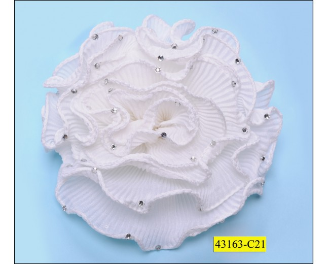 Ruffled flower with stones 12cm White