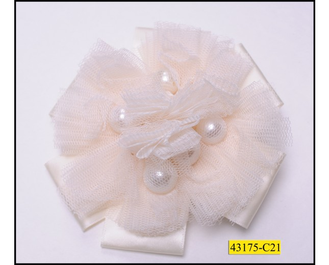 "Applique Circle with silk and chiffon Pearls 4 1/2"" Ivory"