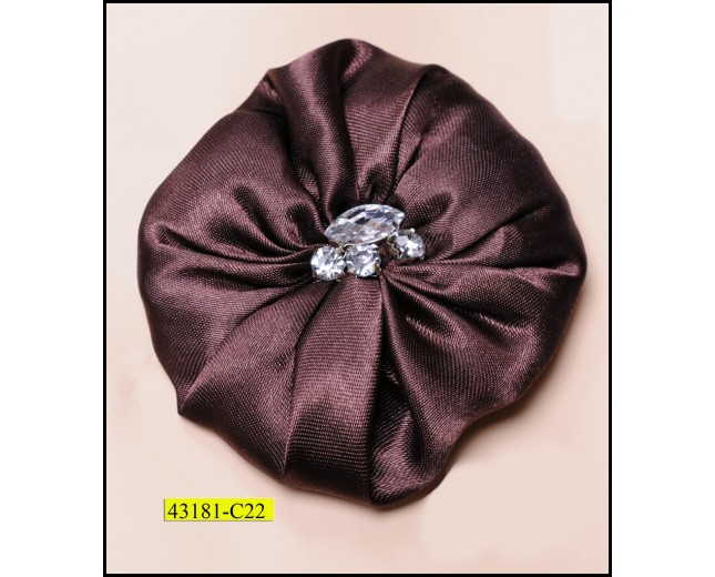 Flower satin with rhinestones in center and pin 3 1/4""