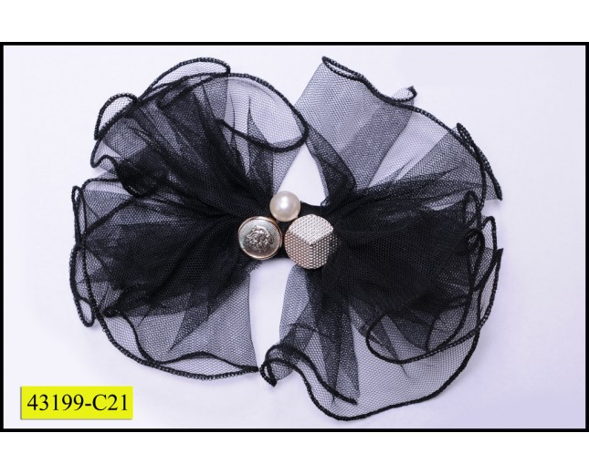 Applique Brooch Mesh Flower with beads and pearl Black and Gold