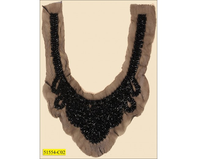 "Collar Applique with beads and scalloped edge on mesh 8 1/2"" Black"