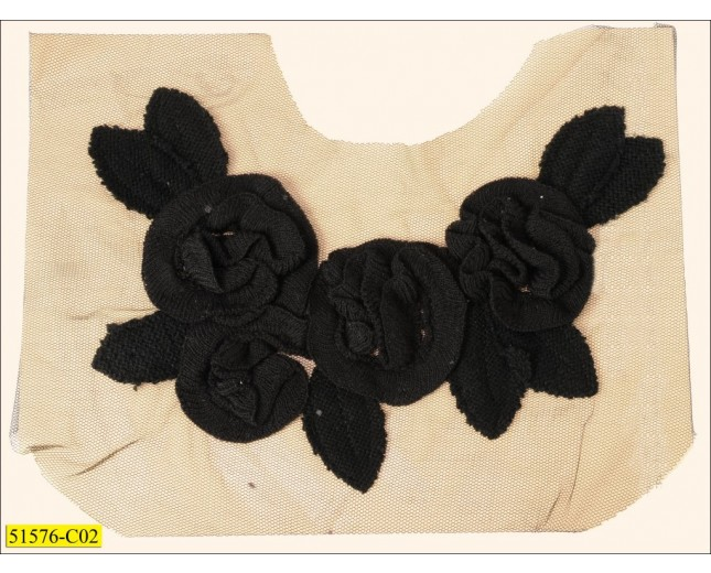 "Cotton Collar Applique floral with leaves on mesh 6"" Black"