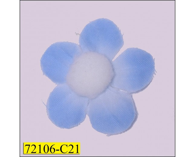 "1 1/2"" Blue Flower with White Pom Pom"