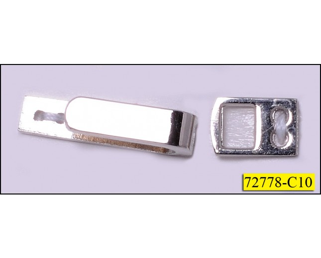 "Metal Snap Rectangle 1 1/8""x3/16"" Nickel"