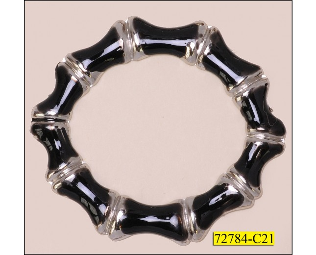 "Ring Scalloped Inner Diameter 1 1/4"" Silver and Black"