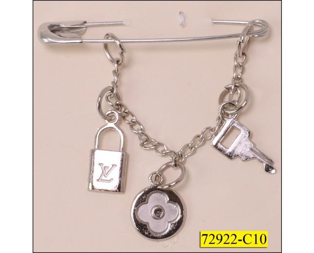 "Kilt Pin with Chain Fringe 2 1/8"" Nickel"