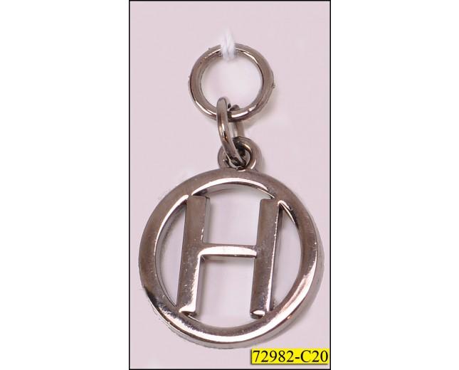 "Zipper Pull Metal Round Letter ""H"" 1 1/4"" Gunmetal"