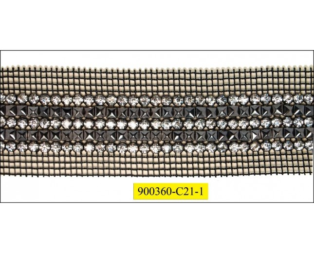 Netting with 3 rows rhinestones 1 row studs 5cm Black