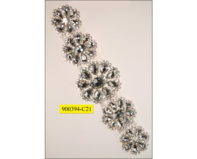 "Rhinestone attachement with flower stones 1 3/4"" Clear"
