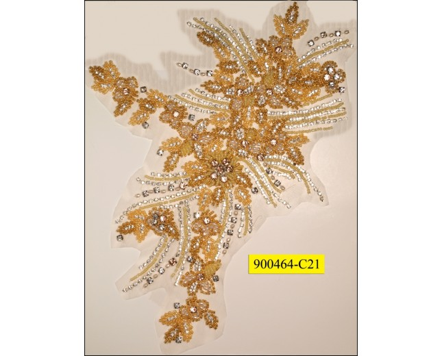 Rhinestone Applique Hot Fix Gold and Clear