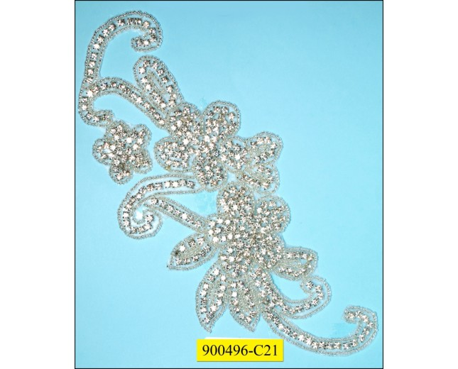 "Applique rhinestone floral 9 3/8x4 1/8"" Clear"