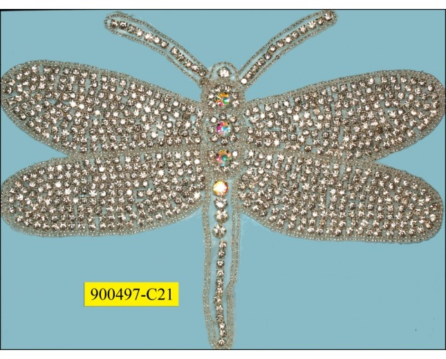 "Applique rhinestone dragonfly 10 7/8x8 1/2"" Clear"