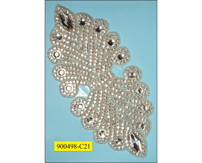"Applique rhinestone large with big rhinestones 9 1/2x4 1/8"" Clear"