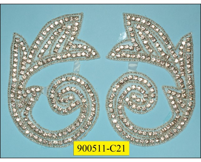 "Applique Rhinestone spiral 3 7/8x5 3/8"" Clear"