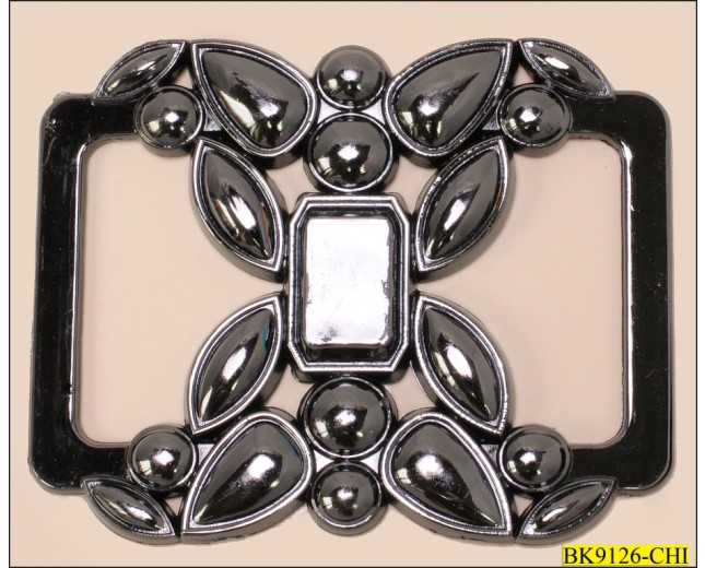 Buckle Rectangle Plastic Floral Design Gunmetal