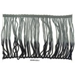 "6"" Chainette Fringe Looped 2 tone Rayon Grey/Blk"