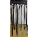 Fringe leather D/F w/eyelets&Studs14 1/2 Blk/Gun