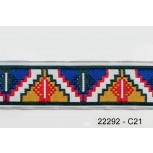 """1 1/4"""" 44.5 Blue and  Sand Aztec Jacquard"""