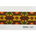 """1 3/8"""" 44.5 Brown and Gold Aztec Jacquard"""