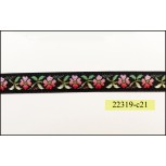 1/2'' Black with Red and Pink Flower