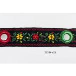 1'' Black Floral Woven Jacquard